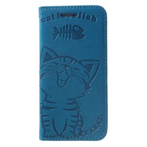 Imprint Cat and Fish Bone PU Leather Protector Cover for Phone SE / 5s / 5 - Baby Blue