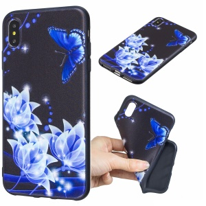 Pattern Printing Embossed TPU Case for iPhone Xs Max 6.5 inch - Blue Flower