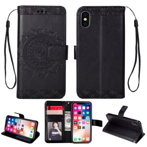 Imprint Totem Pattern Wallet Stand Leather Cover for iPhone XR 6.1 inch - Black