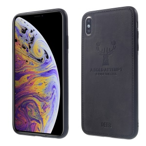 Cloth Texture PU Leather Coated TPU Case for iPhone XS Max 6.5 inch - Black