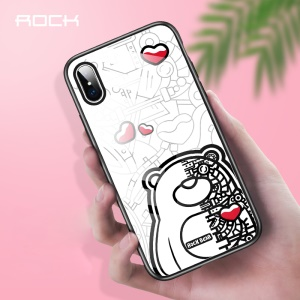 ROCK Tempered Glass + Bear Pattern Printing TPU Hybrid Case for iPhone XS Max 6.5 inch - Machine