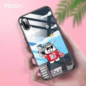 ROCK Tempered Glass + Bear Pattern Printing TPU Hybrid Back Casing for iPhone XS Max 6.5 inch - Music