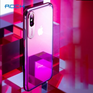 ROCK Aluminum Alloy Patch Gradient Color PC Hard Case for iPhone Xs 5.8 inch - Red