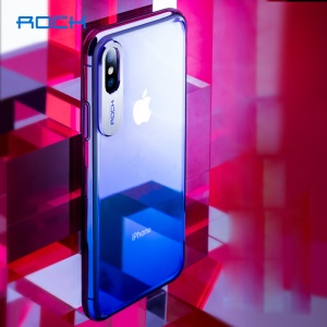 ROCK Aluminum Alloy Patch Gradient Color PC Hard Cover for iPhone Xs 5.8 inch - Blue