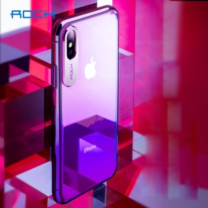 ROCK Aluminum Alloy Patch Gradient Color Plastic Hard Shell for iPhone Xs 5.8 inch - Purple