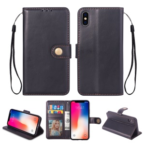 Metal Buckle PU Leather Stand Wallet Case for iPhone XS Max 6.5 inch - Black