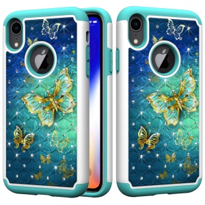 Pattern Printing Rhinestone Decoration PC TPU Hybrid Case for iPhone XR 6.1 inch - Gold Butterfly
