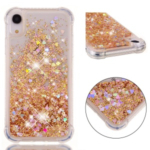 Glitter Powder Quicksand Shockproof TPU Phone Casing for iPhone XR 6.1 inch - Gold