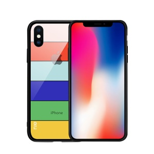 NXE Pattern Printing Stripes 9H Glass Back + TPU Edge Hybrid Case for iPhone XS Max 6.5 inch - Style A