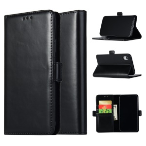 Crazy Horse Texture Leather Wallet Stand Cover for iPhone XR 6.1 inch - Black