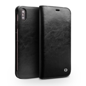 QIALINO Genuine Cowhide Leather Wallet Case for iPhone Xs Max 6.5 inch - Black