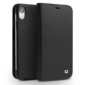 QIALINO Classic Gen II Top Layer Cowhide Leather Wallet Case for iPhone XR 6.1 inch - Black