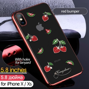 KINGXBAR Crystal Clear Rhinestone Case for iPhone XS / X 5.8 inch Electroplating PC Hard Phone Case - Red Bumper