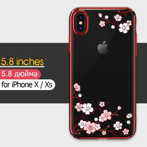 KINGXBAR Love of Flower Rhinestone Plated Plastic Phone Shell for iPhone XS / X 5.8 inch - Peach Blossom / Red
