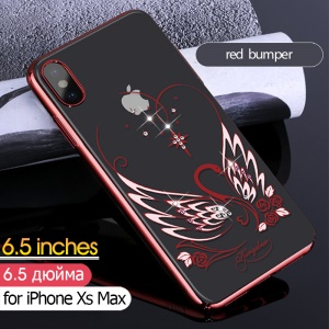 KINGXBAR Authorized Swarovski  Artificial Diamond Decor Electroplated PC Hard Shell for iPhone XS Max 6.5 inch - Red