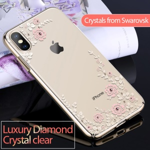KAVARO Floret Swarovski Electroplating PC Protection Mobile Phone Shell for iPhone XS Max 6.5 inch - Gold