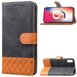 Contrast Color Jeans Cloth Rhombus Leather Wallet Folio Case for iPhone XS Max 6.5 inch - Black