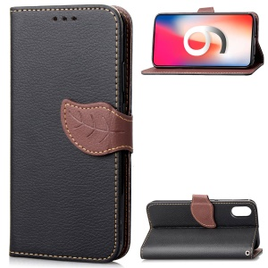 Leaf Shape Magnetic Flap Leather Wallet Mobile Phone Case for iPhone XR 6.1 inch - Black
