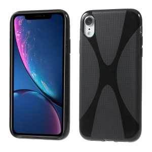 X Shape Anti-slip TPU Cell Phone Cover for iPhone XR 6.1 inch - Black