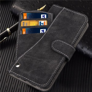 Frosted Flip Leather Wallet Stand Casing for iPhone XR 6.1 inch with Magnetic Closure - Black