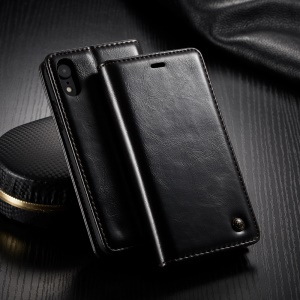 CASEME Oil Wax Leather Magnetic Wallet Stand Case for iPhone XR 6.1 inch - Black