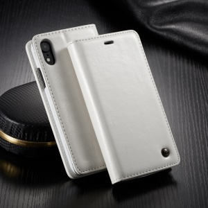 CASEME 003 Series Oil Wax Leather Magnetic Wallet Stand Cover for iPhone XR 6.1 inch - White