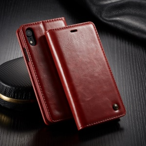 CASEME 003 Series Oil Wax Leather Magnetic Wallet Stand Cover Case for iPhone XR 6.1 inch - Red