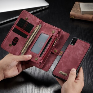 CASEME 2-in-1 Multi-slot Wallet Vintage Split Leather Phone Case for iPhone XR 6.1 inch - Red