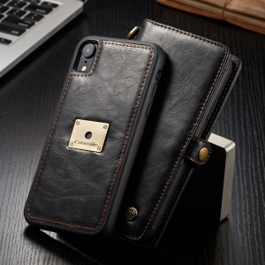 CASEME Detachable 2-in-1 Split Leather Wallet Phone Case for iPhone XR 6.1 inch - Black