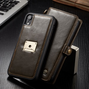 CASEME Detachable 2-in-1 Split Leather Wallet Phone Cover Case for iPhone XR 6.1 inch - Brown