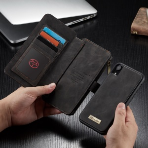 CASEME Detachable 2-in-1 Zipper Wallet Split Leather Cell Phone Case for iPhone XR 6.1 inch - Black