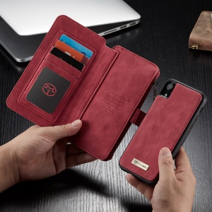 CASEME 007 Series Detachable 2-in-1 Zipper Wallet Split Leather Shell Case for iPhone XR 6.1 inch - Red