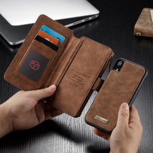 CASEME Detachable 2-in-1 Zipper Wallet Split Leather Protection Case for iPhone XR 6.1 inch - Brown