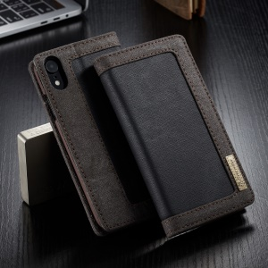 CASEME Canvas Leather Stand Wallet Case for iPhone XR 6.1 inch - Black