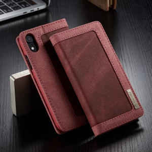 CASEME 006 Series Canvas Leather Wallet Stand Flip Mobile Phone Casing for iPhone XR 6.1 inch - Red