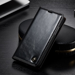 CASEME Oil Wax Leather Magnetic Wallet Stand Case for iPhone Xs 5.8 inch - Black