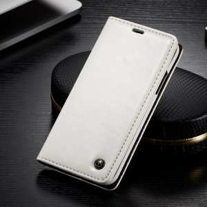 CASEME Oil Wax Leather Magnetic Wallet Stand Cover for iPhone Xs 5.8 inch - White