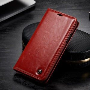 CASEME 003 Series Oil Wax Leather Wallet Case with Stand for iPhone Xs 5.8 inch - Red