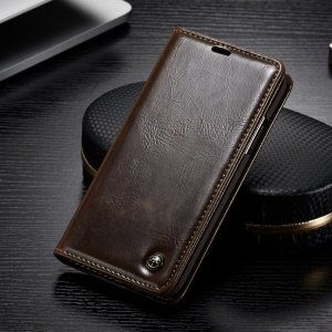 CASEME 003 Series Oil Wax Leather Wallet Cover with Stand for iPhone Xs 5.8 inch - Brown