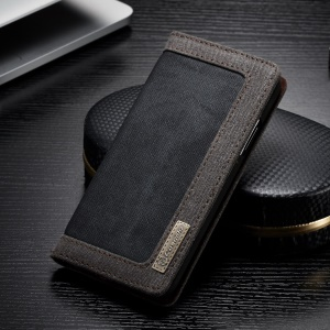 CASEME Canvas Leather Stand Wallet Case for iPhone Xs 5.8 inch - Black