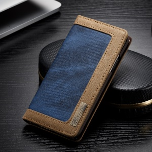 CASEME Canvas Leather Stand Wallet Shell for iPhone Xs 5.8 inch - Blue