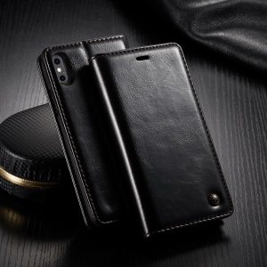 CASEME Oil Wax Leather Magnetic Wallet Stand Case for iPhone Xs Max 6.5-inch - Black