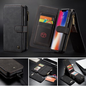 CASEME 007 Series Detachable 2-in-1 Zipper Wallet Split Leather Cell Phone Case for iPhone XS Max 6.5 inch - Black