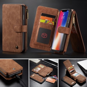 CASEME Detachable 2-in-1 Zipper Wallet Split Leather Mobile Phone Shell for iPhone XS Max 6.5 inch - Brown