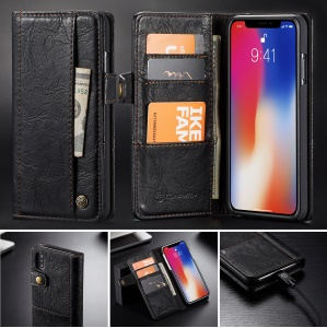 CASEME Vintage Style Stand Wallet PU Leather Phone Case for iPhone XS Max 6.5 inch - Black