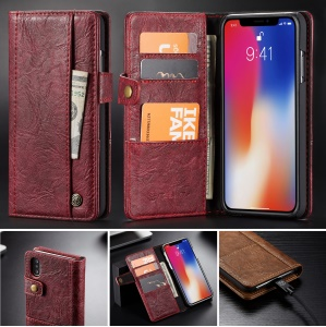 CASEME 010 Series Vintage Style Stand Wallet PU Leather Phone Cover for iPhone XS Max 6.5 inch - Red