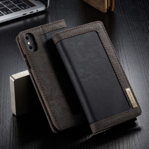 CASEME Canvas Leather Stand Wallet Case for iPhone XS Max 6.5 inch - Black