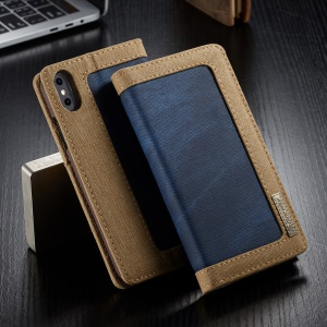 CASEME 006 Series Canvas Leather Stand Wallet Shell for iPhone XS Max 6.5 inch - Blue