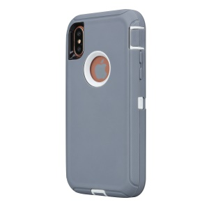 Shockproof Drop-proof Dust-proof PC + TPU Hybrid Shell for iPhone XS Max 6.5 inch - Grey / White