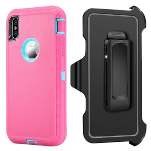 Shockproof Drop-proof Dust-proof PC + TPU Case Protector for iPhone XS Max 6.5 inch - Blue / Rose